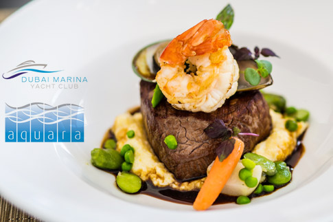 Enjoy a three course steak night special at Dubai Marina Yacht Club, for AED 149 only! Options for two people with grape beverages are available!