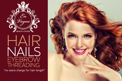 Reinvent your look with a haircut, full hair colouring, blow dry, gelish manicure and eyebrow threading from En Vogue Beauty Centre for AED 99. No charge for extra hair length!