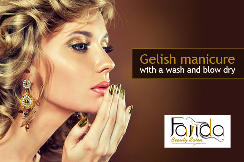 Look stunning with a Gelish manicure and a hair wash and blow dry for AED 79 only at Farida Beauty Salon!