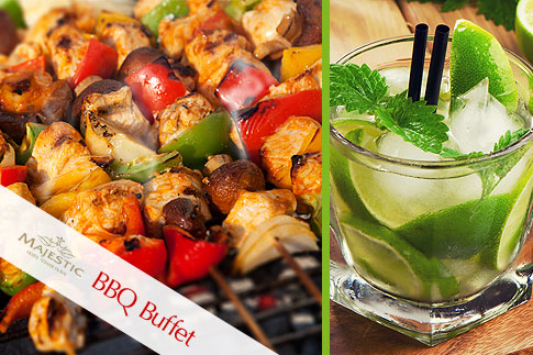 Treat your taste buds to a sumptuous BBQ dinner buffet including unlimited desserts by the  pool side at Majestic Hotel Tower for AED 69 per person - Enjoy great music on Saturday nights!