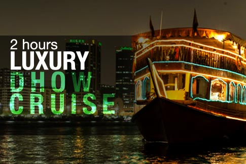 Enjoy a 2-hour luxurious evening dhow cruise along Dubai Creek inclusive of an international dinner buffet, unlimited beverages and a tanoura or magic show for AED 75. Child tickets available for AED 55