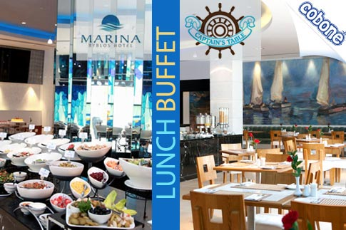 Enjoy a delicious lunch or brunch buffet with soups, salads, appetizers, main courses and desserts with soft drinks and beverages at Marina Byblos Hotel for AED 78 per person - Includes pool access – Kids under 6 eat for free!