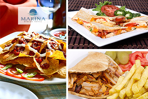Enjoy a fun evening out with friends at the Marina Byblos Hotel including two house beverages, a choice of beef nachos or chicken quesadillas or shawarma plate and shisha for AED 69 only