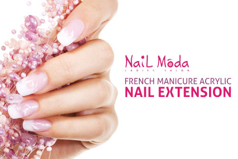 Get fabulous looking nails with French manicure acrylic nail extensions from the award winning Nail Moda Salon for just AED 149!