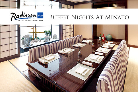 Enjoy authentic Japanese fare with Sushi and Teppanyaki Buffet Nights at Minato Restaurant, Radisson Blu Creek, Dubai for just AED 99 per person! Includes soft beverages!