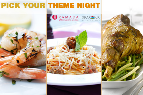 Head to the Ramada Chelsea Hotel for a Seafood, Italian, Mexican or Asian Theme Night Buffet starting from AED 54 - Receive 3 house beverages for AED 45 extra!