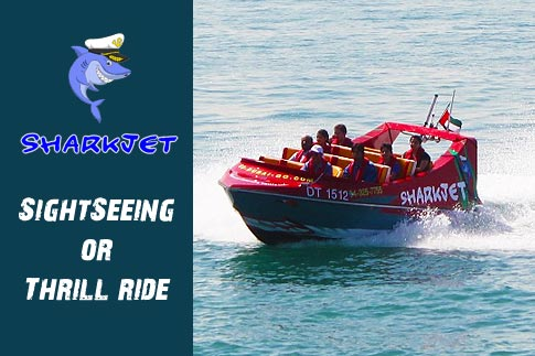 Get that adrenaline rush on a 45 minute high speed SharkJet thrill ride doing crazy tricks in the open sea from Dubai Marina to Palm jumeirah starting from AED 59. Options for sightseeing and thrill rides for adult and children available!