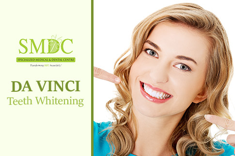 Flash a bright smile with Da Vinci 3-step teeth whitening system from Specialized Medical and Dental Center for AED 588 only