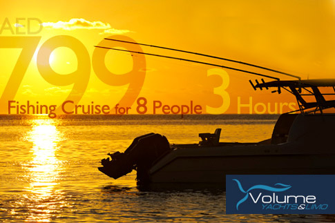 Enjoy the highs and lows of the sea as you feast on your catch with a 2 hour fishing trip for 8 people aboard a 33ft cruising boat by Volume Ship starting from AED 499. Options for 3 hours and 4 hours fishing trip also available!