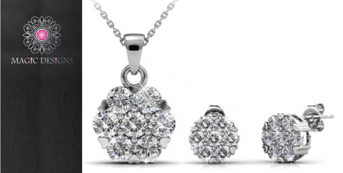 White Gold Plated Swarovski Set
