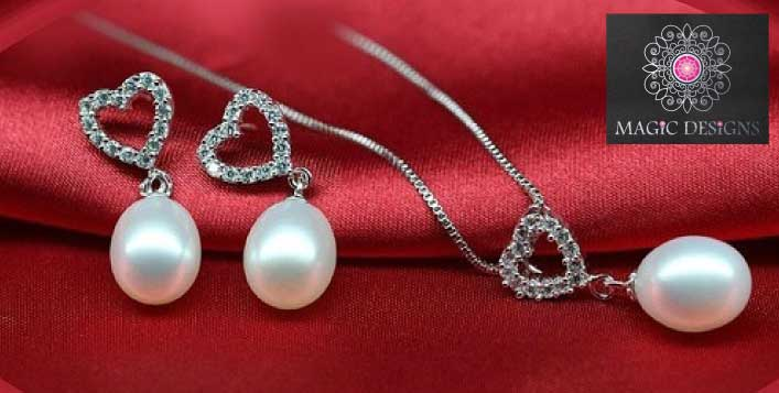 Sterling Silver (925) 100% Natural Pearl Set