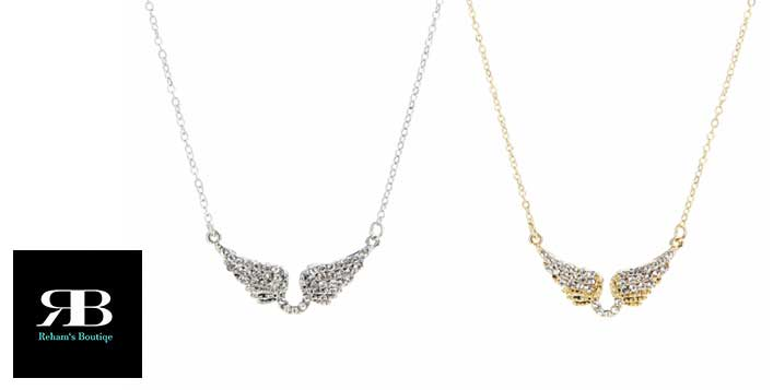 Angel wings necklace, rhinestone and zircon