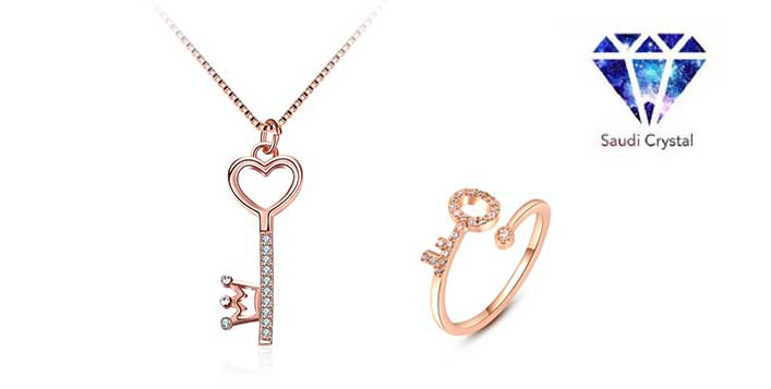 Key pendant and ring set, rose gold plated