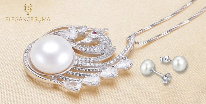 Swan Kit, Studded with Zircon Stones & Pearl