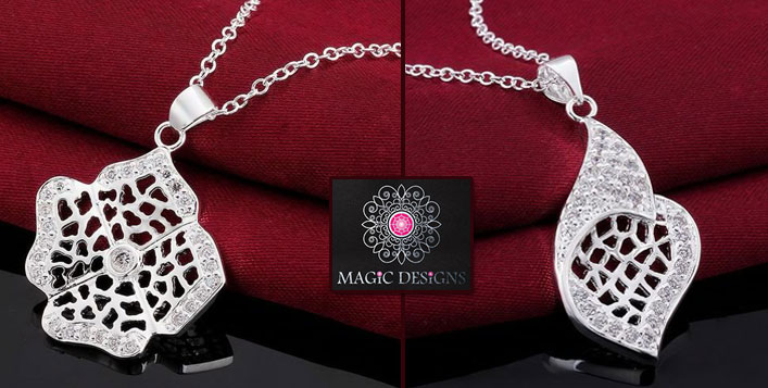 Bride Rose Pure Silver Necklace & Pendant
