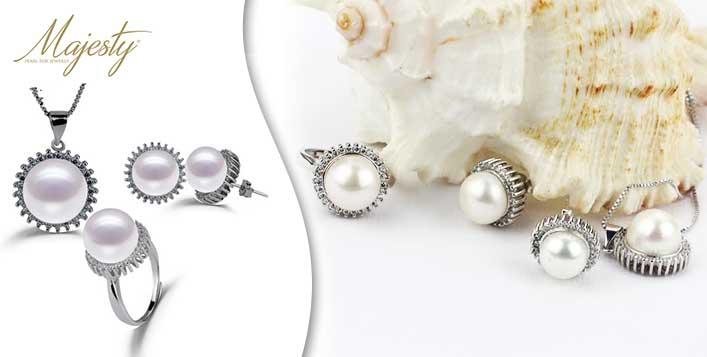 Elegance Pearl Set Pendent, Chain & Earrings