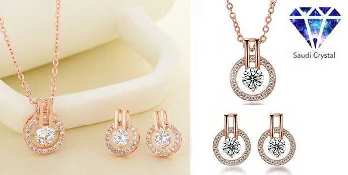 Rose Gold Jewellery Set from Saudi Crystal