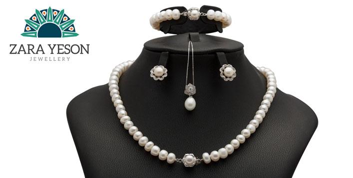 Tulip Set, Natural Pearls, Silver & Zircon