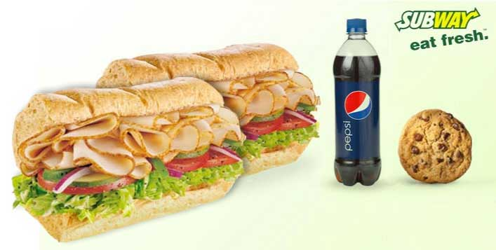Subway Two 6 Inch Subs, Cookie & Soft Drink