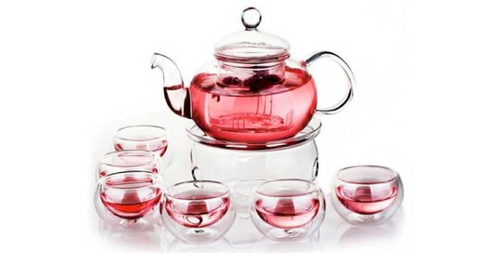 Glass Teapot with Filter + 12 Cups + Warmer