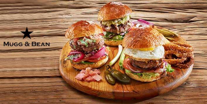 Mugg & Bean's Burger Meal + Slice of Cake