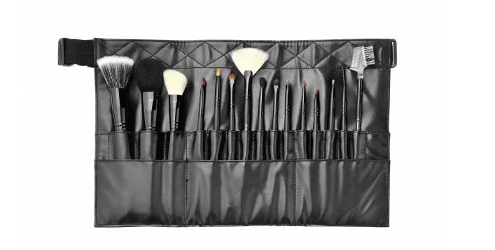 Professional makeup brush set with hip strap