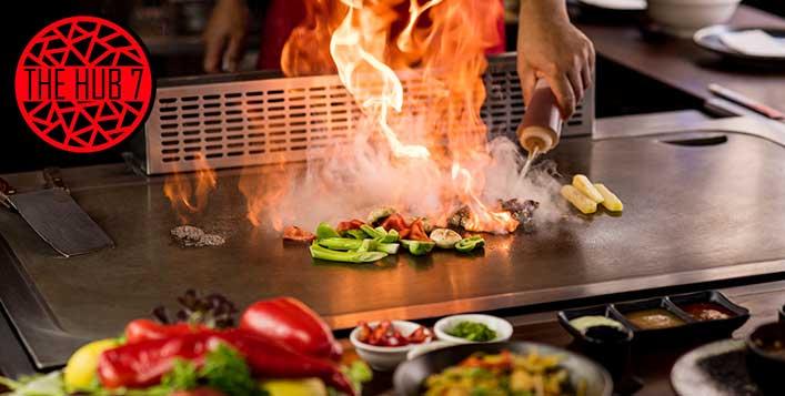 Live Teppenyaki cuisine at Hub 7