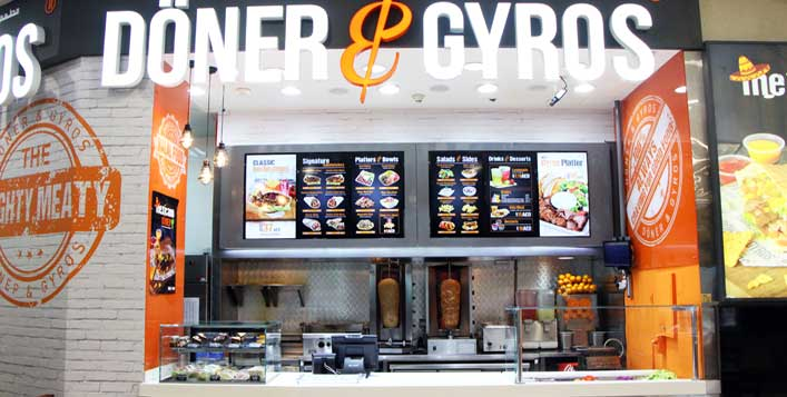 Gyros or gyros pizza, fries & a soft drink!