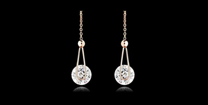Elegant crystal earrings in 2 colours