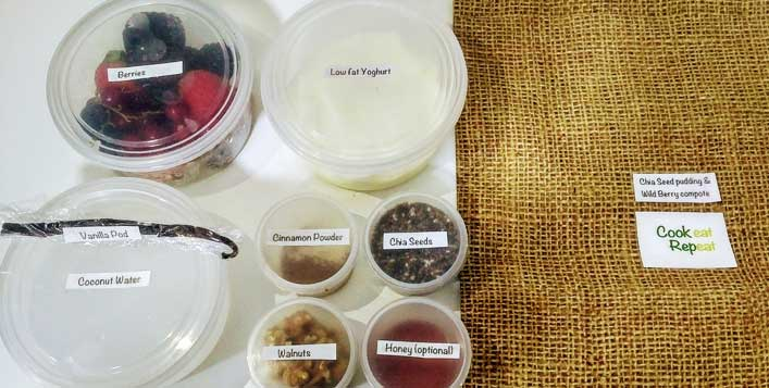 Pre-measured ingredients & recipes in a box