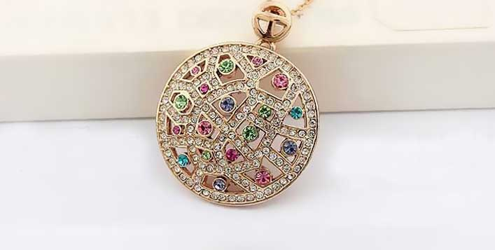 Gold-Plated Crystal Disc Necklace