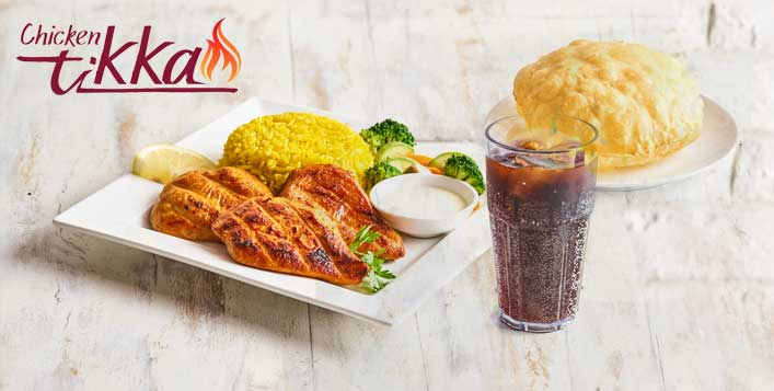 Get 2 Chicken Tikka or Fillet Meals