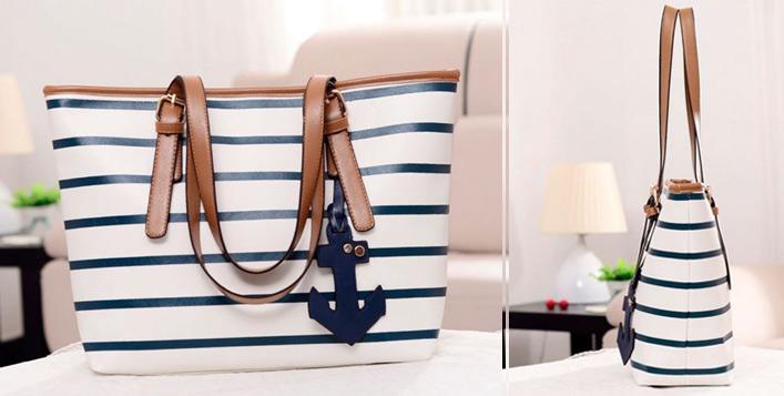 Black & White or Blue & White Anchor Tote Bag