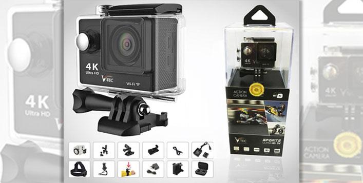 V-TEC 4K UHD Waterproof Action Camera Bundle